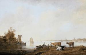 Gezicht op de Oude Maas bij Dordrecht