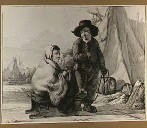 Staande jongen en meisje op een slee op het ijs