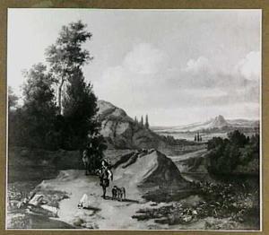 Heuvellandschap met jagers