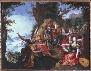 Minerva bezoekt de muzen op de berg Helicon
