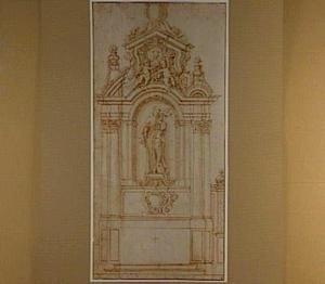 Ontwerp voor een altaar met beeld van een heilige