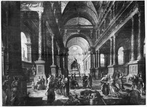 Petrus en Saffira in de tempel van Salomo (Hand. 5:1-12)