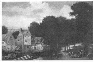 Landschap met huizen, een bleekveld en een harpspeler met toehoorders