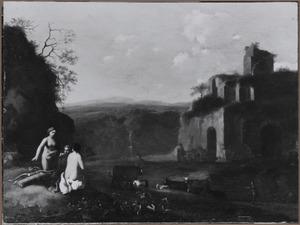Berglandchap met Diana en haar nimfen bij een ruïne