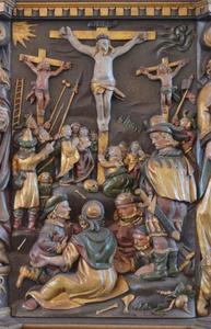 De kruisiging, detail van de preekstoel uit de kerk van Nørre Åby (Denemarken)