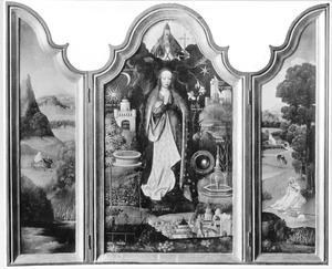 De vlucht naar Egypte (links), Maria met de symbolen van de Onbevlekte Ontvangenis (midden), de rust op de vlucht naar Egypte (rechts)