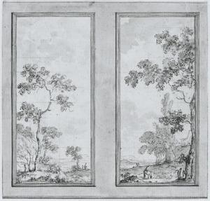 Wand met twee behangselvlakken met een doorlopend heuvellandschap