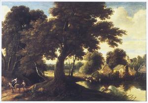 Boslandschap met vrouw op ezel en wandelaar