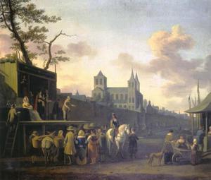 Gezicht op de St. Kunibert te Keulen met op de voorgrond een toneelvoorstellking