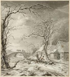 Winterlandschap met houthakkers en een stenen brug: Winter