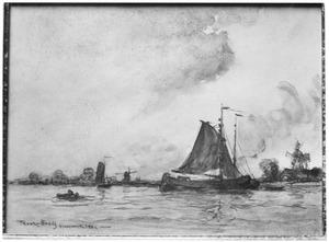 Zeilschip voor anker bij Kinderdijk