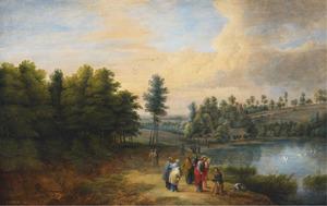 Bebost landschap met Christus die een blinde geneest