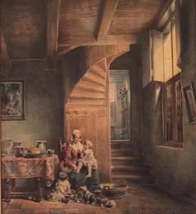 Oud Hollands interieur met moeder en twee kinderen
