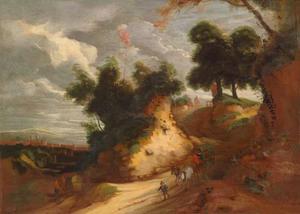Duinlandschap met huifkarren en figuren op een zandweg