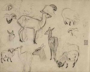 Schetsboekblad met schetsen van herten, rammen en een ontwerp voor ex-libris