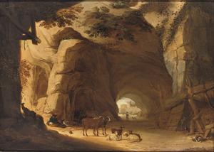Rustende herders met hun vee in een grot