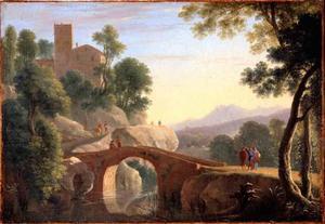 Italiaans landschap met stenen brug