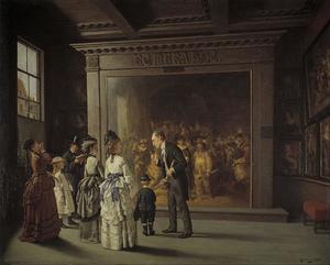Bezoekers van het Trippenhuis voor de Nachtwacht van Rembrandt