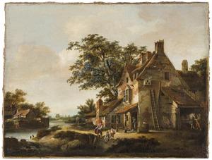 Landschap met een huis aan een rivier