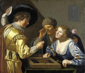 Triktrakspelers in een bordeel met een koppelaarster