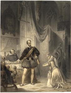 De vrouw van de graaf Egmont die bij de hertog van Alva nog een poging doet om genade te bepleiten voor haar veroordeelde echtgenoot (?)