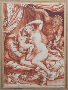 Venus en Cupido bespied door een sater