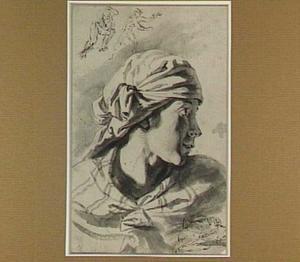 Hoofd van een meisje; schets voor Apollo en Daphne en liggende man