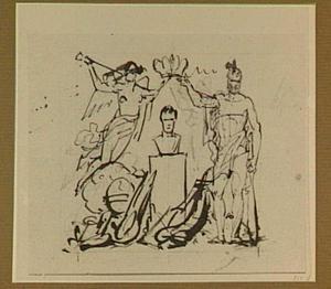 Portretbuste met krijgsattributen, geflankeerd door de Faam en een allegorische figuur
