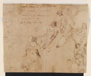 Schets voor de compositie 'Christus door engelen naar de hemel gedragen'