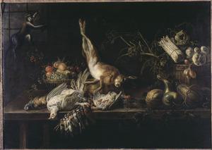 Fruitmand, wild en groenten op een tafel, met een aap bij het raam