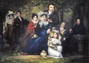 Portret van Michiel Hafkenscheid (1772-1846) met zijn gezin