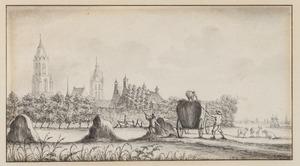 Hooiende boeren buiten de stad Delft