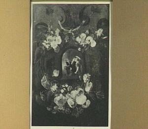 Bloemenkrans rond een amoreus herderspaar