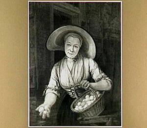 Jonge vrouw die eieren aanbiedt