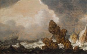 Schepen in ruwe zee bij een rotsachtige kunst