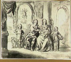 Familieportret met vermoedelijk een geschilderde beeltenis van een overleden kind