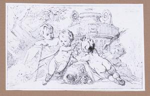 Vier putti bij een siervaas in landschap