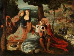 Lots dochters maken hun vader dronken; op de achtergrond de ondergang van Sodom en Gomorra  (Genesis 19:33-34)