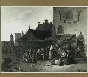 Markttafereel bij een gotisch gebouw