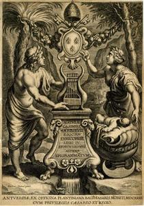 Titelpagina voor M.C. Sarbievski, Lyricorum Libri IV, Antwerpen 1632