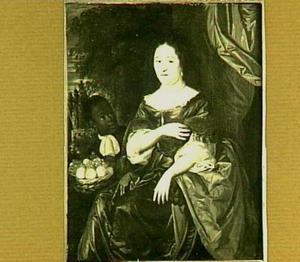 Portret van een vrouw, mogelijk Anna de Bye (1636-1713), met een bediende