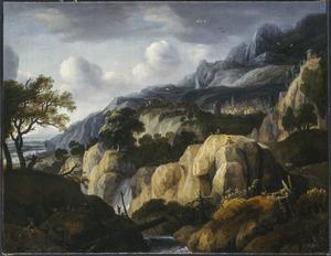 Berglandschap met een tekenaar