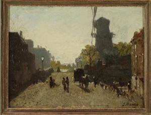 Stadsgezicht met molen