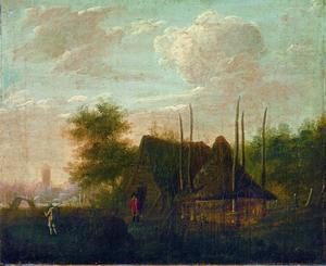 Landschap met boerderij en hooimijt