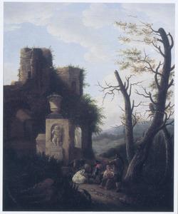 Heuvellandschap met herders bij een ruïne