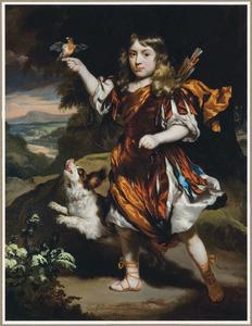 Portret van een onbekende jongen in antiek kostuum als jager