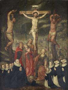 De kruisiging van Christus met stichtersportretten