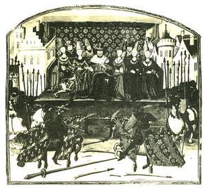 Koning Edward II houdt een toernooi ter ere van de Gravin van Salisbury, uit Wavrin's Anciennes Chroniques