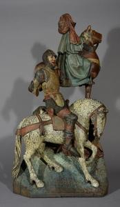 Twee Romeinse soldaten te paard van een Calvarie, naar rechts gewend