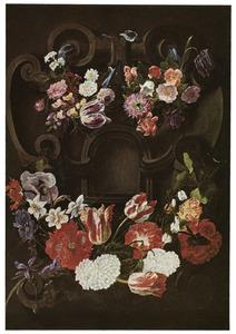 Bloemenkrans rond een cartouche